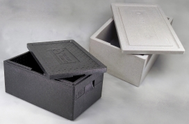 Termo skumkasse 1/1 GN m/låg sort ydermål 595x390x230mm 30 liter