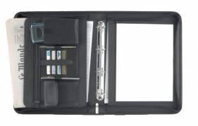 Dokumentmappe Eurostyle sort kunstlæder stor A4 m/ringe