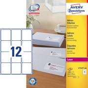 Laseretiket Avery 63,5x72mm 12/ark 100ark/pak L7164