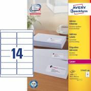 Laseretiket Avery 99,1x38,1mm 14/ark 100ark/pak L7163