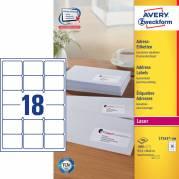 Laseretiket Avery 63,5x46,6mm 18/ark 100ark/pak L7161
