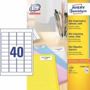 Laseretiket Avery 45,7x25,4mm 40/ark 100ark/pak L7654-100