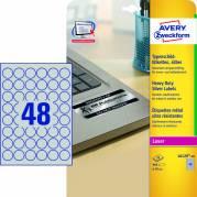 Etiket Avery stærk sølv Ø30mm 48stk/ark 20ark/pak