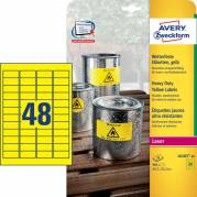 Etiket Avery stærk gul 45,7x21,2mm 48stk/ark 20ark/pak