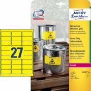 Etiket Avery stærk gul 63,5x29,6mm 27stk/ark 20ark/pak