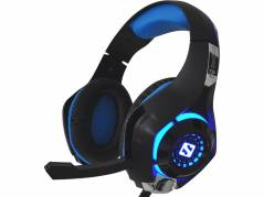 Headset Gaming Twister sort/ blå m/farveskiftende LED lys