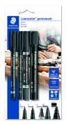 Marker Lumocolor permanent m/4 ass. mærkningspenne
