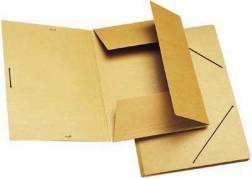 Dokumentmappe m/3 klapper og elastik brun A4