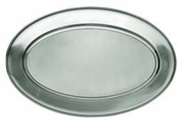 Fad oval med fane 51x35cm rustfrit stål