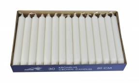 Kronelys 22x200mm hvid brændetid 7 timer 30stk/pak