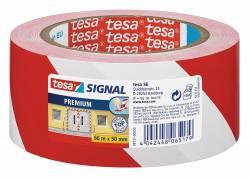 Tape tesa advarselstape PVC 50mmx66m rød/hvid