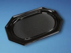Cateringfad sort plast 45x30x2,5cm oval 10x10stk/kar A-PET mellem