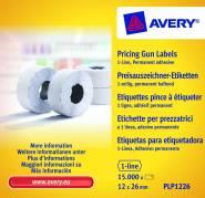 Prisetiketter Avery 1 linje hvid 26x12mm perm.klæb 1500stk
