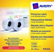Prisetiketter Avery 2 linjer hvid 26x16mm aftagelig 1200stk