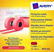 Prisetiketter Avery 1 linje rød 26x12mm perm.klæb 1500stk
