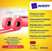 Prisetiketter Avery 2 linjer rød 26x16mm perm.klæb 1200stk