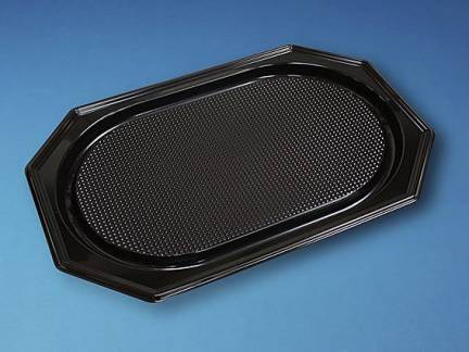 Cateringfad A-PET sort stor 550×360×30mm oval 10x10stk/kar